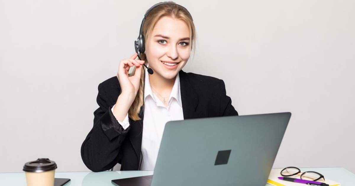 Woman calling and working at support