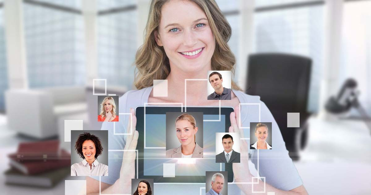 Woman holding a tablet for video conference