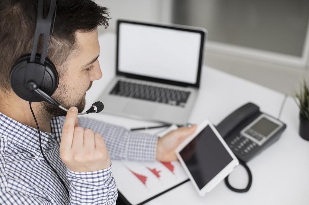 businessman talking phone