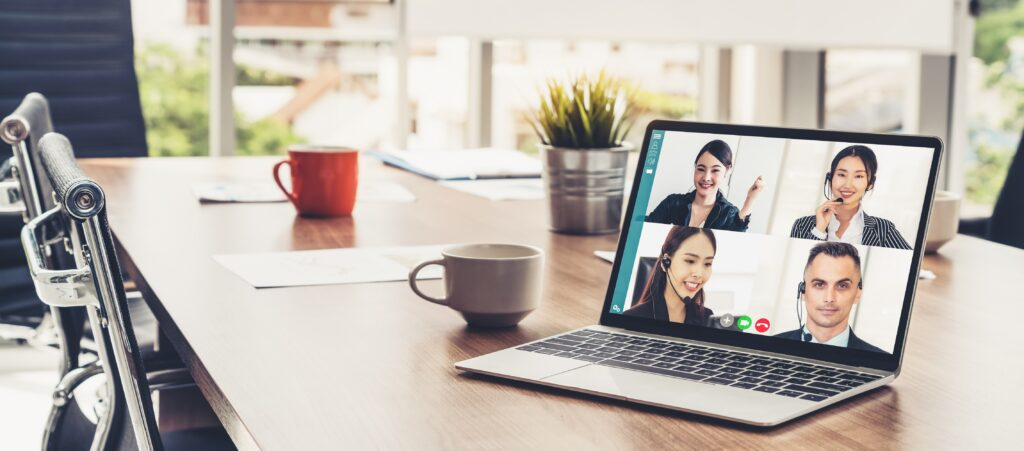 video call business people meeting virtual workplace remote office