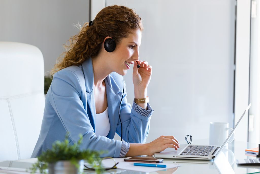 conference call focused woman