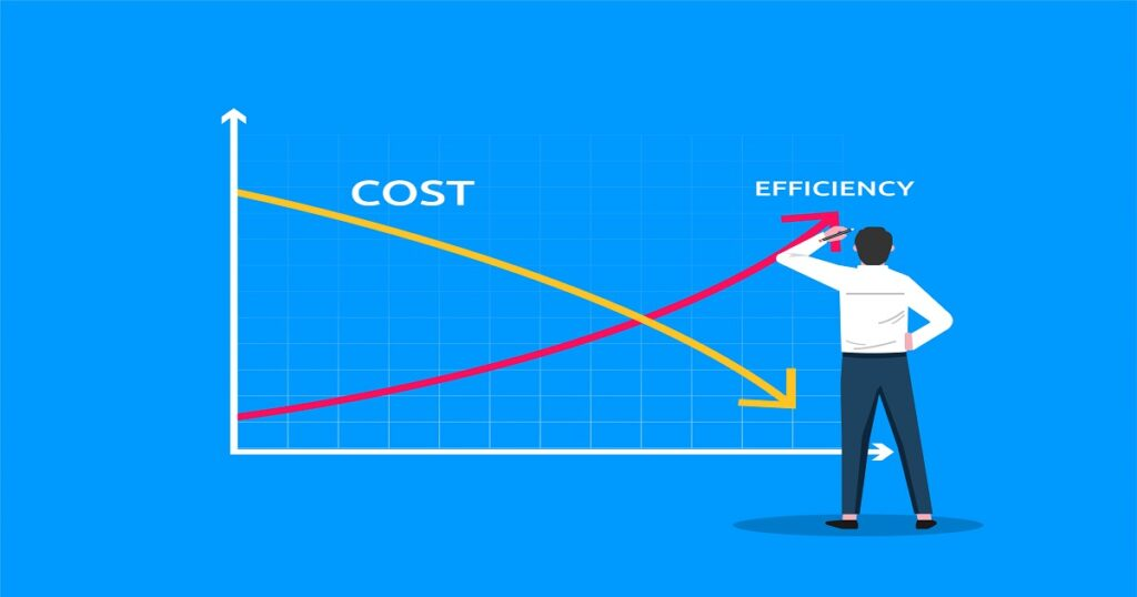 Businessman drawing graph lines cost vs efficiency symbol. Business template vector illustration