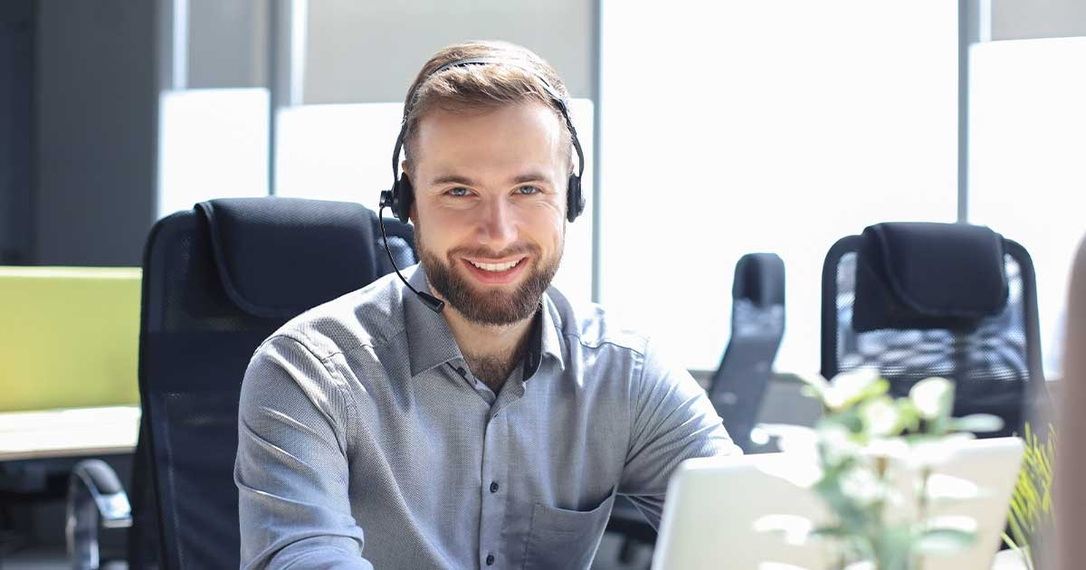 Man working at support